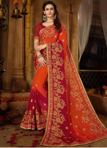 Faux Georgette Patch Border Magenta and Orange Shaded Saree