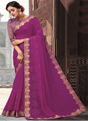 Faux Georgette Patch Border Purple Classic Designer Saree