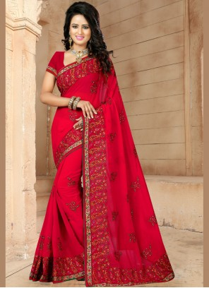 Faux Georgette Patch Border Red Classic Designer Saree