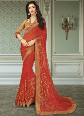 Faux Georgette Patch Border Red Classic Saree