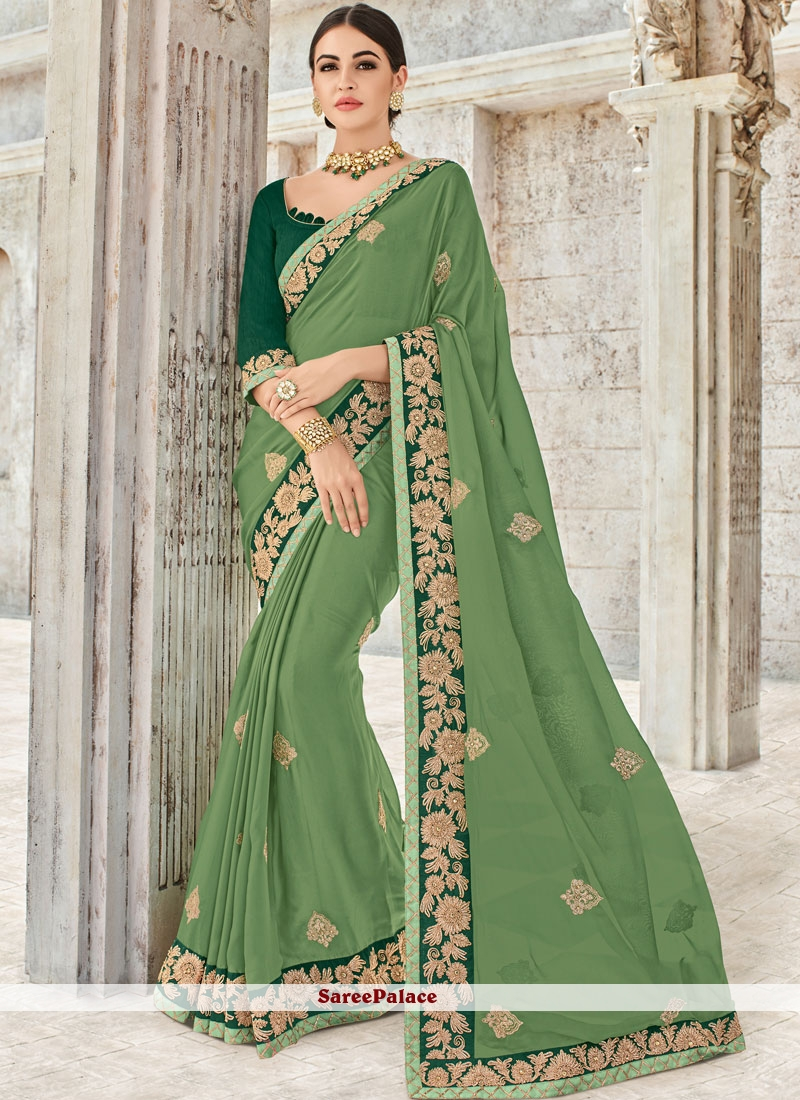 Faux Georgette Patch Border Saree in Green