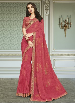 Pink Faux Georgette Patch Border Trendy Saree