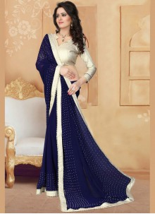 Faux Georgette Patch Border Work Saree