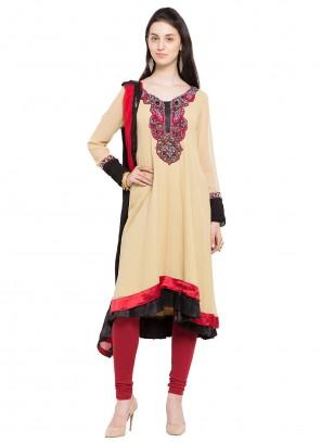 Faux Georgette Patchwork Readymade Anarkali Salwar Suit in Beige