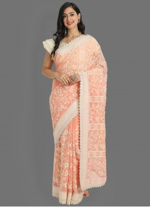 Faux Georgette Peach Embroidered Classic Saree