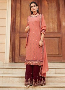Faux Georgette Peach Embroidered Designer Palazzo Salwar Kameez