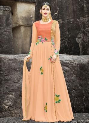 Faux Georgette Peach Lace Work Floor Length Anarkali Suit