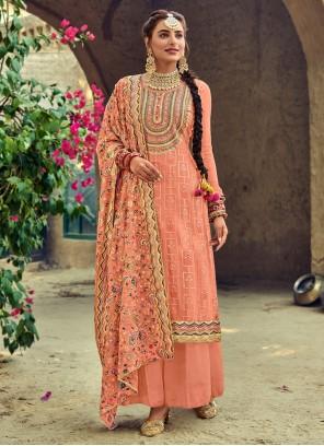 Faux Georgette Peach Palazzo Designer Salwar Kameez