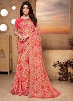 Faux Georgette Pink Abstract Print Classic Saree