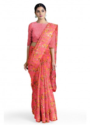 Faux Georgette Pink Abstract Printed Saree