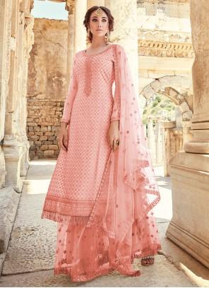 Faux Georgette Pink Designer Palazzo Suit