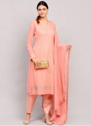 Faux Georgette Pink Designer Straight Suit