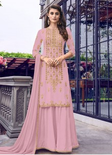 Faux Georgette Pink Embroidered Salwar Suit