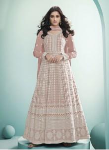 Faux Georgette Pink Fancy Floor Length Anarkali Suit