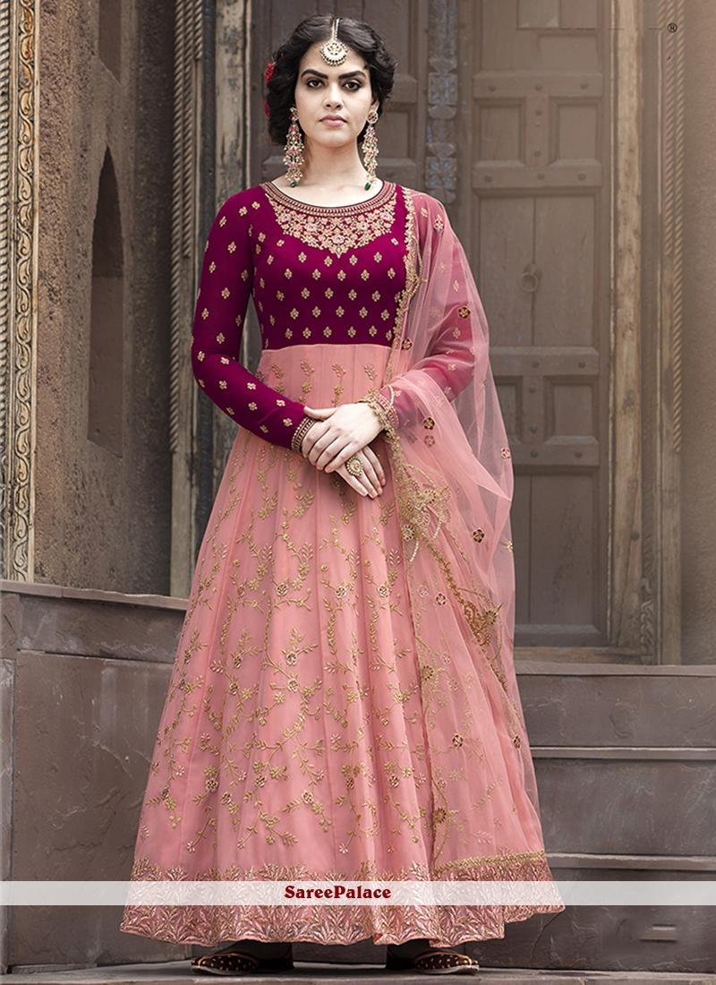 Faux Georgette Pink Floor Length Anarkali Suit