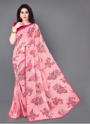 Faux Georgette Pink Floral Print Trendy Saree