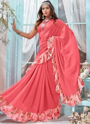 Faux Georgette Pink Printed Trendy Saree