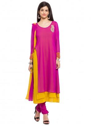 Faux Georgette Pink Readymade Churidar Salwar Kameez
