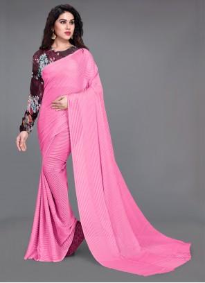 Faux Georgette Fancy Work Pink Saree