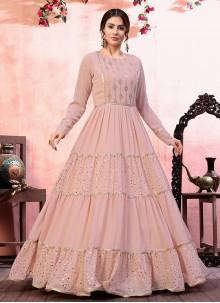 Faux Georgette Pink Sequins Designer Gown
