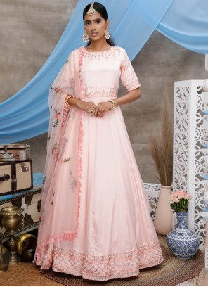 Faux Georgette Pink Sequins Floor Length Gown