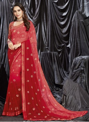 Faux Georgette Pink Shaded Saree