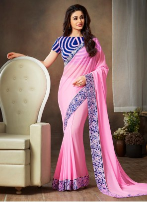 Faux Georgette Pink Traditional Saree