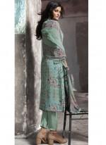 Faux Georgette Print Blue Pant Style Suit