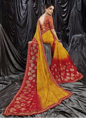 Faux Georgette Print Mustard and Red Shaded Saree