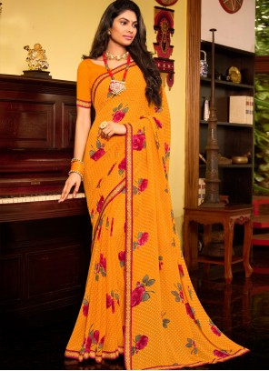 Faux Georgette Print Yellow Classic Saree