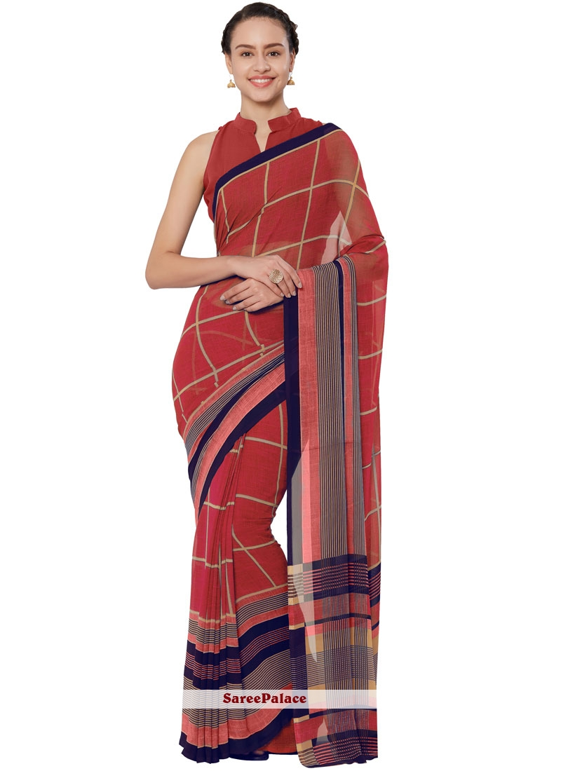 Red Faux Georgette Printed Casual Saree