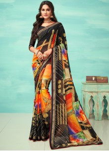 Faux Georgette Multi Colour Printed Casual Saree