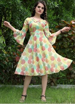 Faux Georgette Printed Multi Colour Designer Kurti