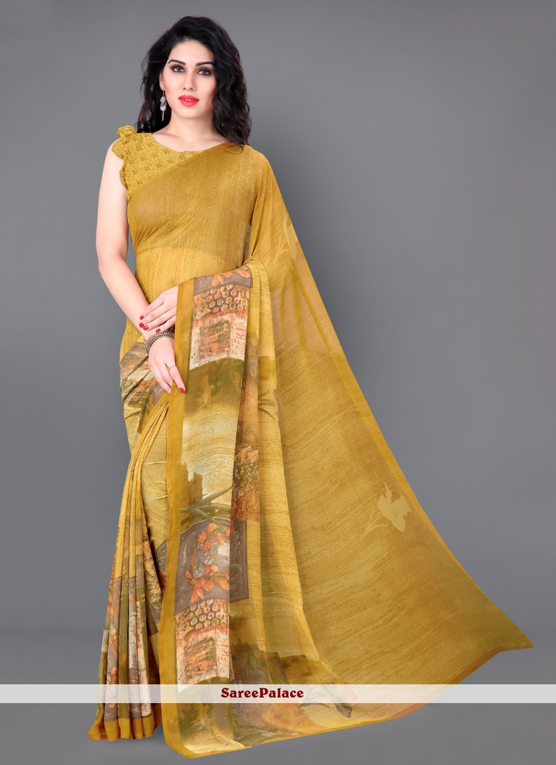 Faux Georgette Printed Mustard Casual Saree