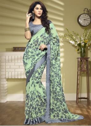 Faux Georgette Printed Saree in Multi Colour
