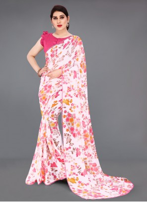 Faux Georgette Off White Printed Saree