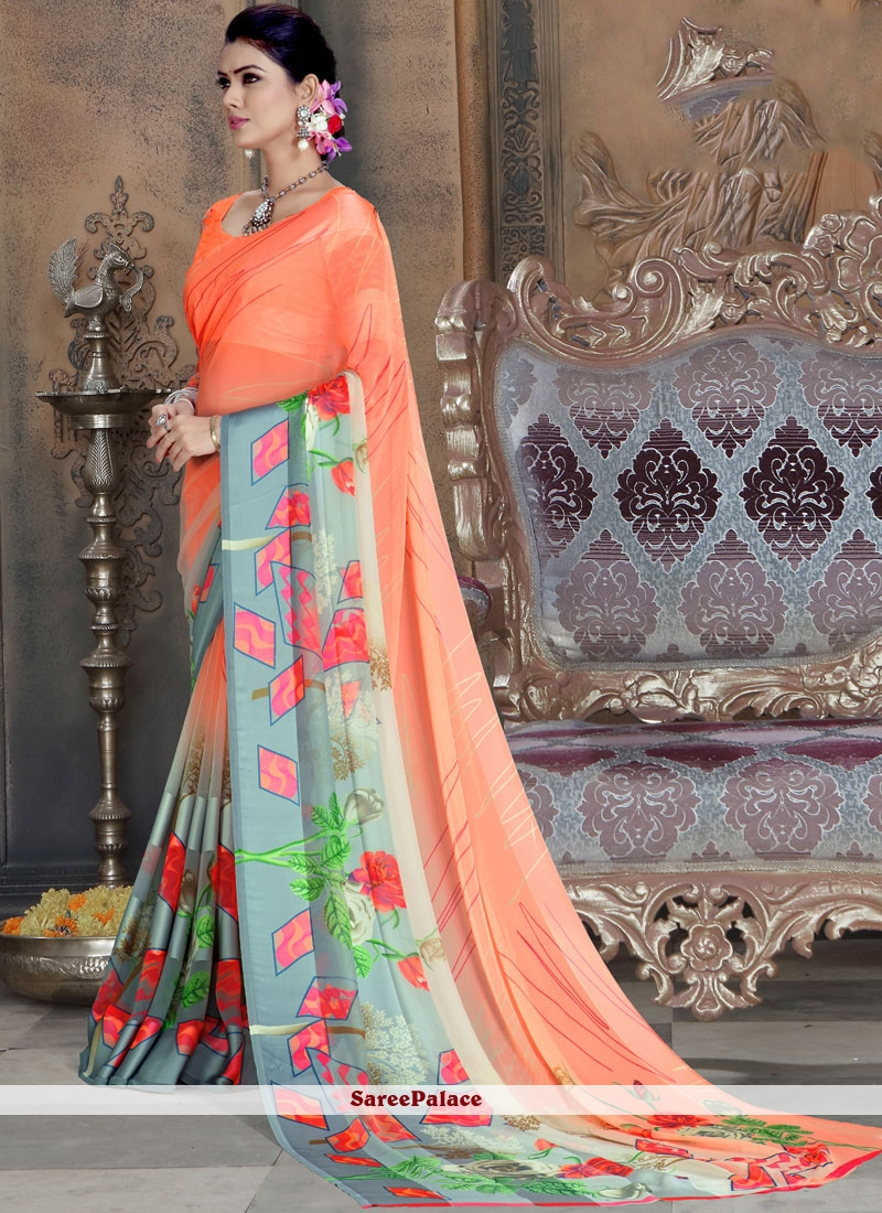 Multi Color Faux Georgette Printed Saree