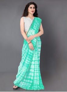 Faux Georgette Printed Traditional Saree in Green and Off White