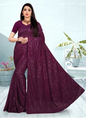 Faux Georgette Purple Classic Designer Saree