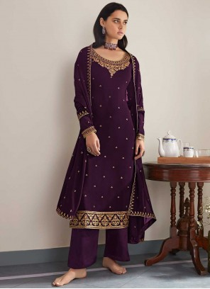 Faux Georgette Purple Embroidered Designer Palazzo Salwar Suit