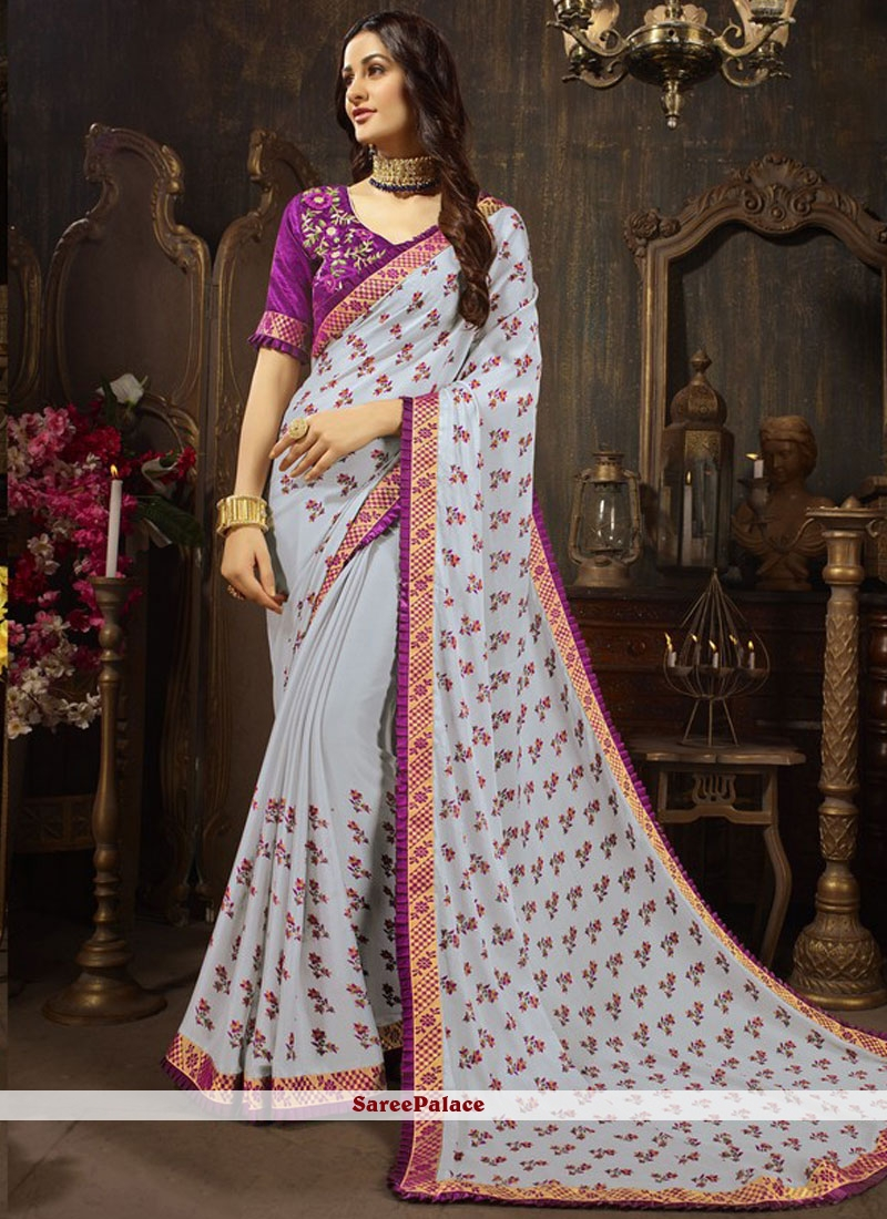 Faux Georgette Purple Embroidered Designer Traditional Saree