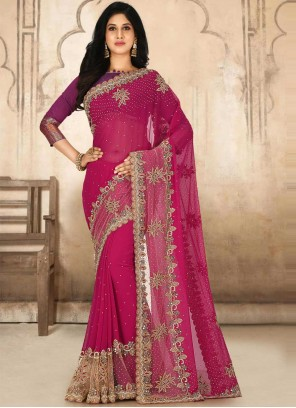 Faux Georgette Rani Handwork Classic Designer Saree