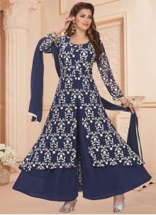 Faux Georgette Blue Readymade Suit