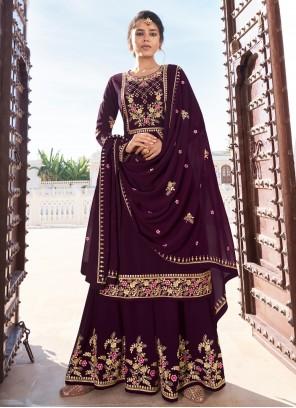 Faux Georgette Purple Readymade Suit