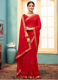 Faux Georgette Red Classic Designer Saree