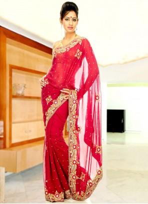 Faux Georgette Red Designer Saree