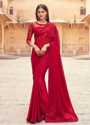 Faux Georgette Red Embroidered Designer Saree