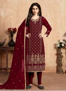 Faux Georgette Red Pant Style Suit