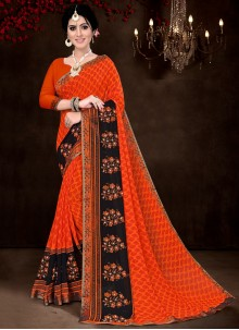 Faux Georgette Red Print Saree