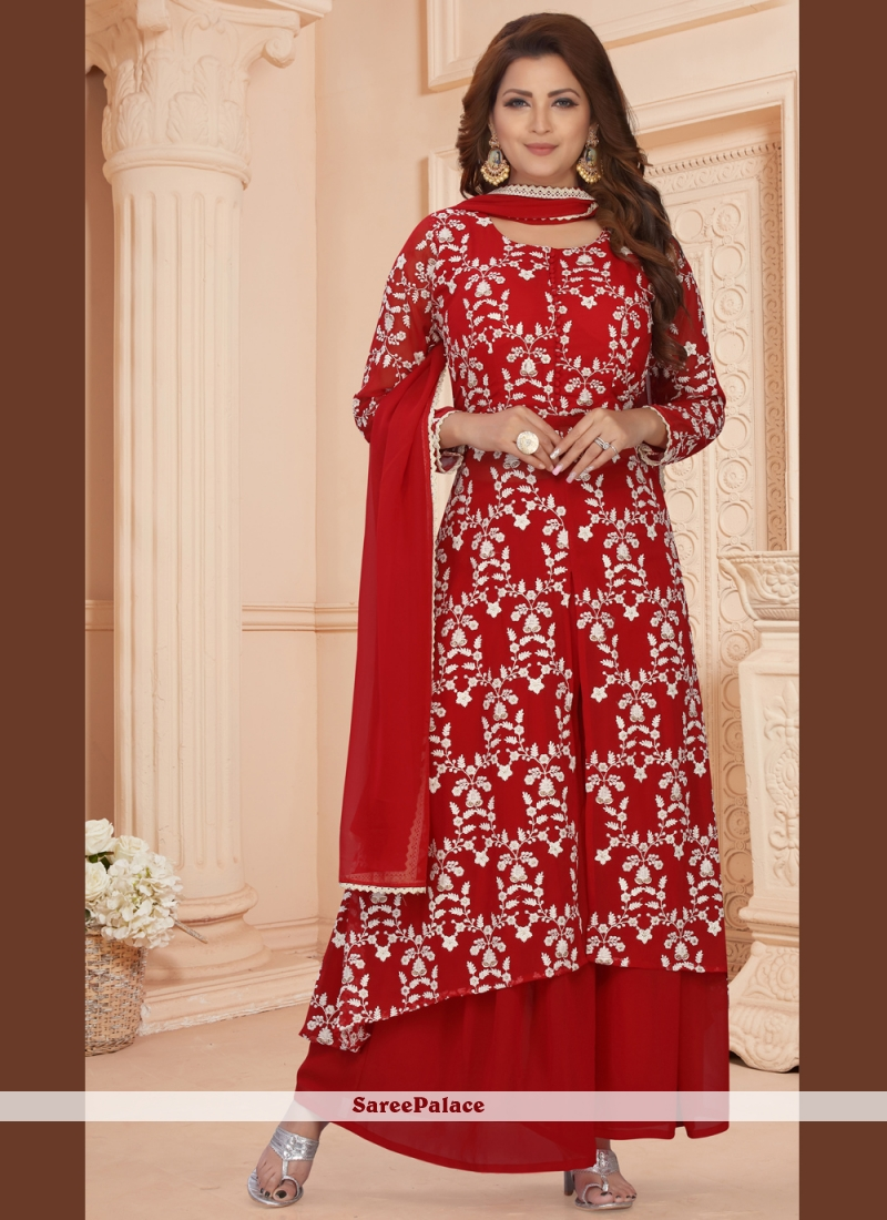Faux Georgette Red Readymade Suit